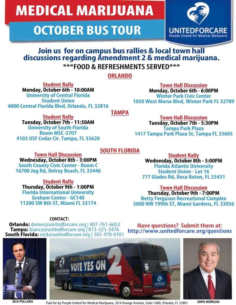 John Morgan and United For Care Florida medical marijuana bus tour